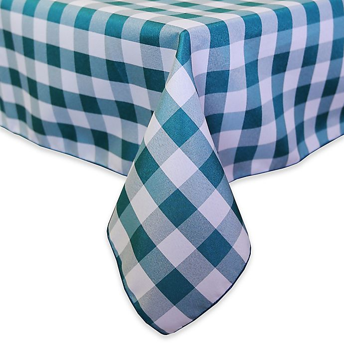 Alternate image 1 for Gingham Poly Check 72-Inch Square Indoor/Outdoor Tablecloth in Teal /White