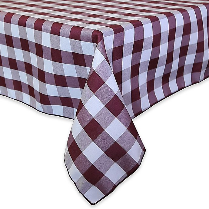 Alternate image 1 for Gingham Poly Check 72-Inch Square Indoor/Outdoor Tablecloth in Bungundy/White