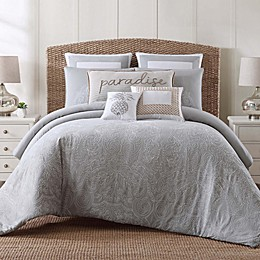 Tropical Plantation Comforter Set in Grey/White