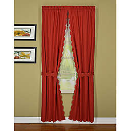 Orleans Tambour Scallop Edge Rod Pocket Window Curtain Panels (Set of 2)