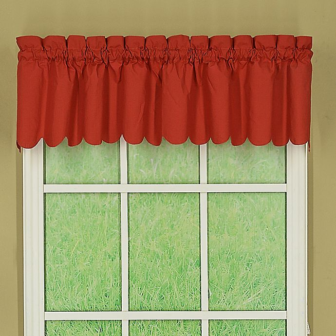 Alternate image 1 for Orleans Tambour Scallop Edge Rod Pocket Window Valance in Brick Red