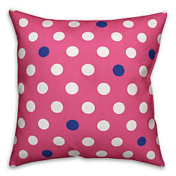 Polka Dot Square Throw Pillow in Pink