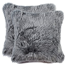 Sheepskin Square Throw Pillows (Set of 2)
