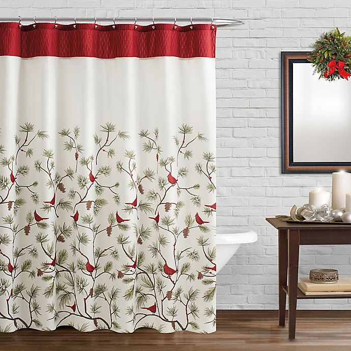 Saturday Knight Snow Cardinals Shower Curtain And Hook Set