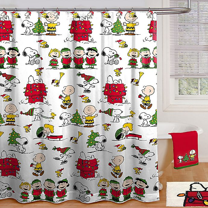 Alternate image 1 for Peanuts Holiday Shower Curtain Collection