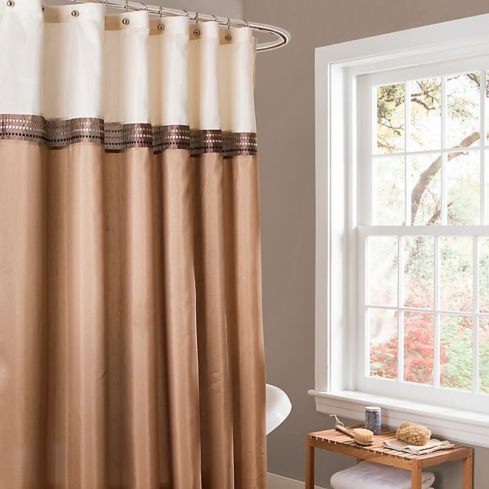 Alternate image 1 for Lush Décor Terra Stripe Shower Curtain in Beige/Ivory