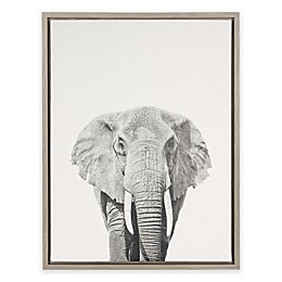 Kate and Laurel Sylvie Elephant Framed Canvas Wall Art in Grey