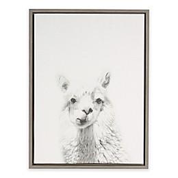 Kate and Laurel Sylvie Alpaca Framed Canvas Wall Art in Grey