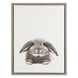 Kate and Laurel Sylvie Rabbit Grey Framed Canvas Wall Art