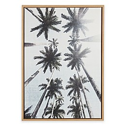 Kate and Laurel Sylvie 33-Inch x 23-Inch Palm Trees Natural Framed Canvas Wall Art