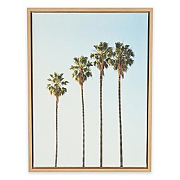 Kate and Laurel Sylvie Palm Trees Natural Framed Canvas Wall Art