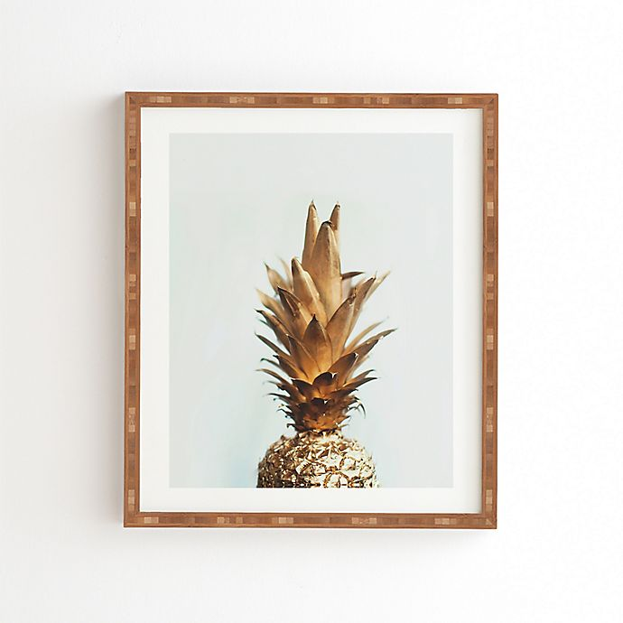 Alternate image 1 for Deny Designs 19-Inch x 22.5-Inch Chelsea Victoria Gold Pineapple Bamboo Framed Wall Art