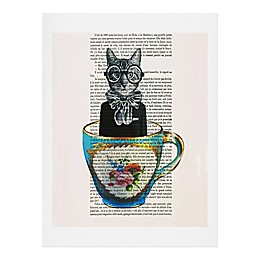 Deny Designs Coco De Paris 11-Inch x 14-Inch Cat in a Cup Wall Art