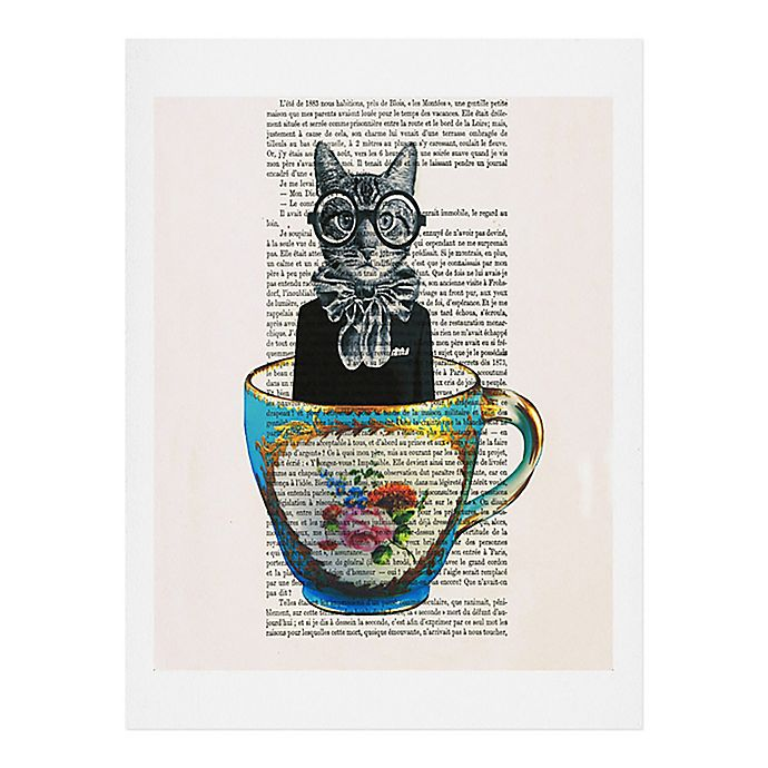 Alternate image 1 for Deny Designs Coco De Paris 11-Inch x 14-Inch Cat in a Cup Wall Art