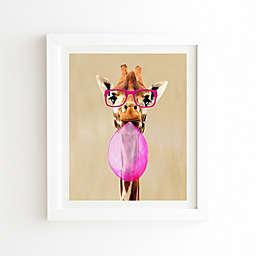 Deny Designs Coco Paris Clever Giraffe Bubblegum Framed Wall Art