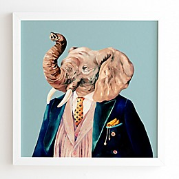 Deny Designs Animal Crew 12-Inch x 12-Inch Mr. Elephant Framed Wall Art