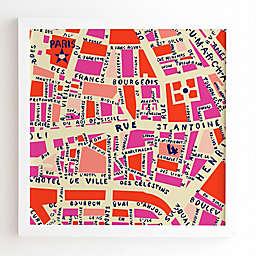 Deny Designs Holli Zollinger 12-Inch x 12-Inch Paris Map Wall Art