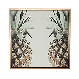 Kate and Laurel Sylvie Pineapple Gold Framed Canvas Wall Art