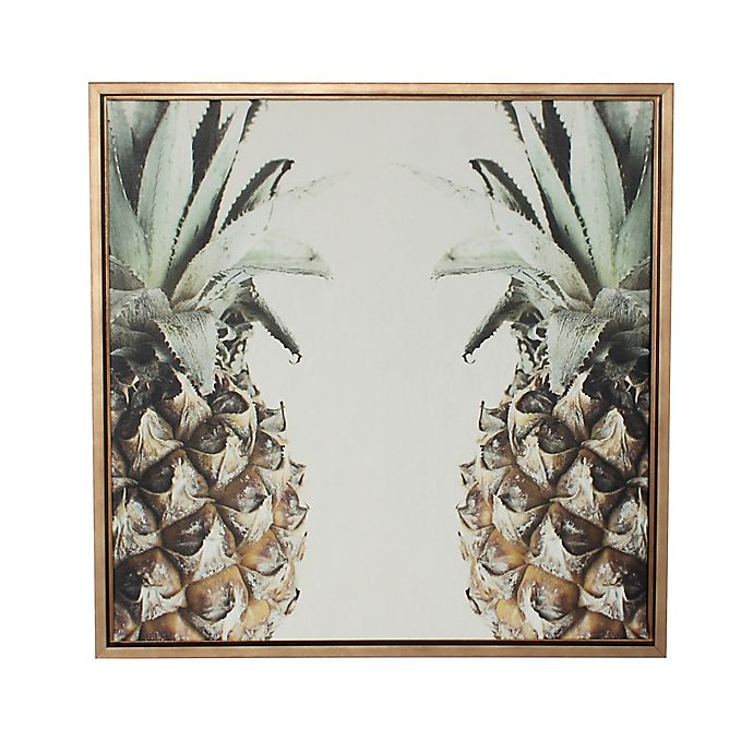Alternate image 1 for Kate and Laurel Sylvie Pineapple Gold Framed Canvas Wall Art