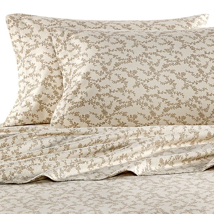 Alternate image 1 for Laura Ashley® Victoria Flannel Queen Sheet Set in Beige
