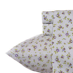 Laura Ashley® Petite Fleur King Sheet Set in Lilac