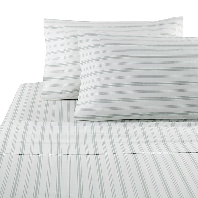 Alternate image 1 for Panama Jack Hampton Stripe 300-Thread Count King Sheet Set in Sage