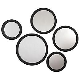 Circles 5-Piece Wall Mirror Set in Black