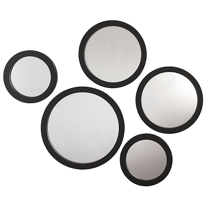 Alternate image 1 for Circles 5-Piece Wall Mirror Set in Black
