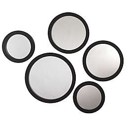 Circles 5-Piece Wall Mirror Set in Black