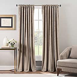 Stockton Velvet 84-Inch Rod Pocket/Back Tab Window Curtain Panel in Tan