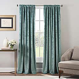 Stockton Velvet 84-Inch Rod Pocket/Back Tab Window Curtain Panel in Seaglass