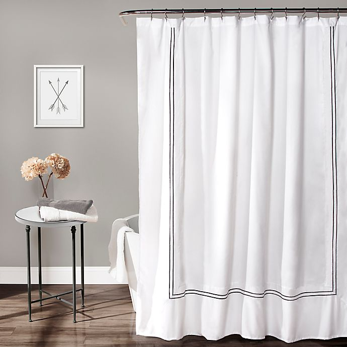 Alternate image 1 for Lush Decor Hotel Collection 72-Inch x 72-Inch Geometric Shower Curtain in White/Grey