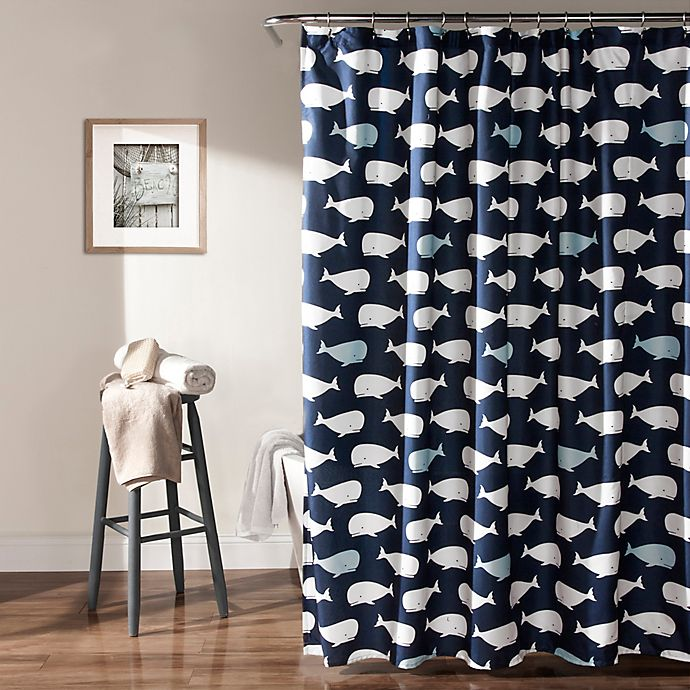 Lush DecorR Whale Shower Curtain In Navy