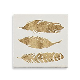 Thirstystone® Golden Quote Feathers Square Coaster