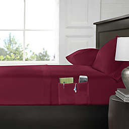 Smart Twin Sheet Set with Pocket in Burgundy