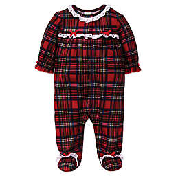 Little Me® Plaid with Ruffle Footie in Red