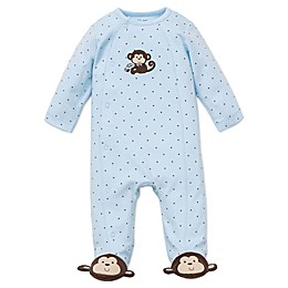 Little Me® Preemie Monkey Star Side-Snap Footie in Blue