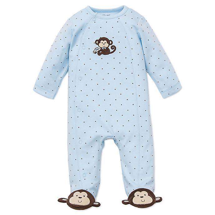 Alternate image 1 for Little Me® Preemie Monkey Star Side-Snap Footie in Blue