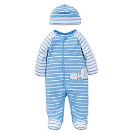 Little Me® Preemie 2-Piece Elephant Striped Footie and Hat Set in Blue