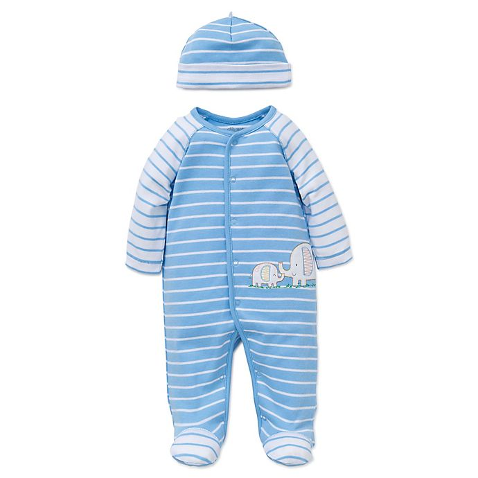 Alternate image 1 for Little Me® 2-Piece Elephant Striped Footie and Hat Set in Blue