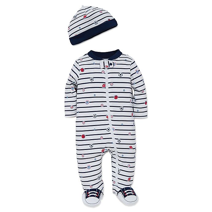 Alternate image 1 for Little Me® Preemie 2-Piece Striped Sports Star Footie and Hat Set in White