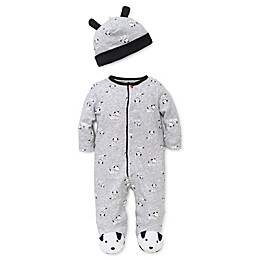 Little Me™ Preemie 2-Piece Dalmatian Footie Pajama and Hat Set in Grey