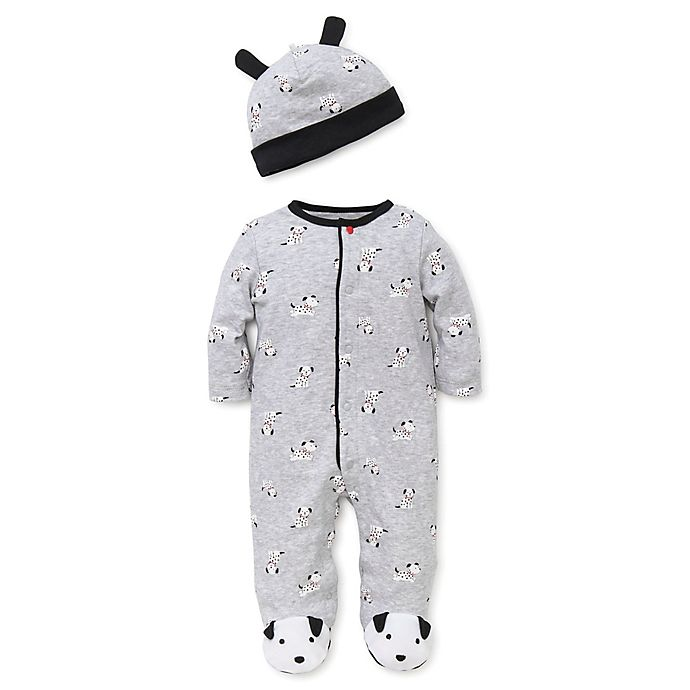 Alternate image 1 for Little Me™ Preemie 2-Piece Dalmatian Footie Pajama and Hat Set in Grey