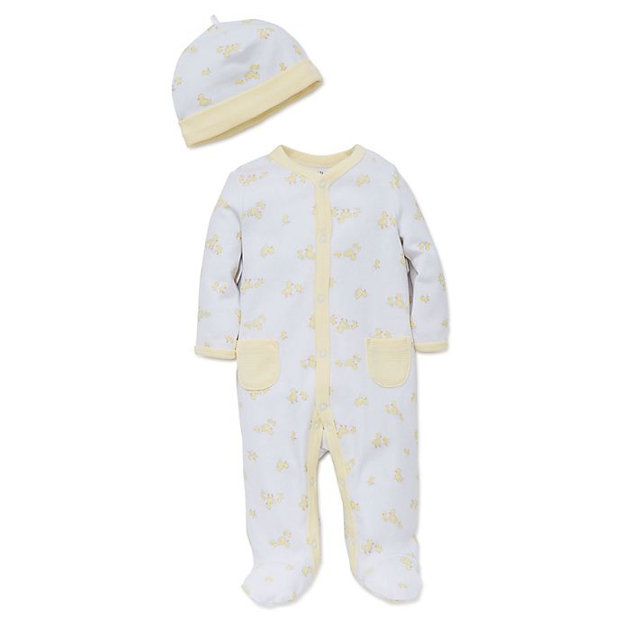 648adc7b2 Little Me™ Preemie 2-Piece Ducks Footie Pajama and Hat Set in White ...