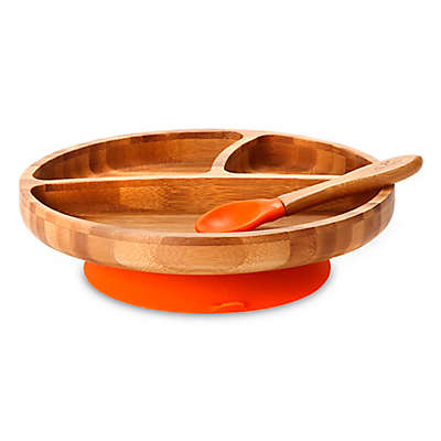 Avanchy Bamboo + Silicone Suction Toddler Plate + Spoon in Orange