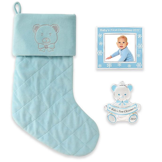 Alternate image 1 for Harvey Lewis™ 3-Piece Baby's First Christmas 2017 Gift Set in Blue
