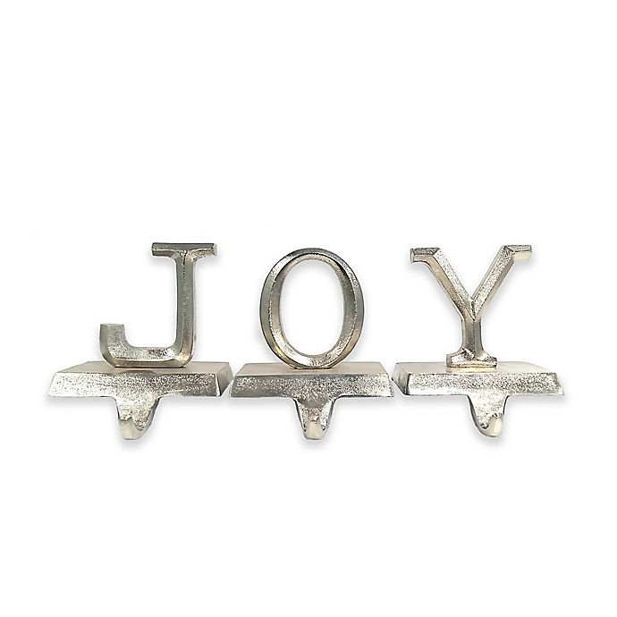 Alternate image 1 for Aluminum Joy Christmas Stocking Holders in Silver (Set of 3)