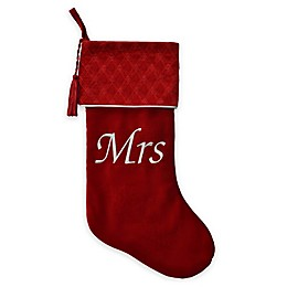 Harvey Lewis™ Embroidered Velvet Mrs. Stocking