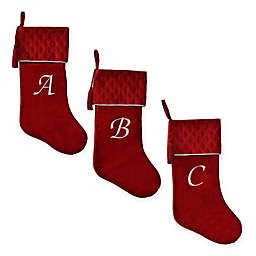Harvey Lewis™ Monogram Letter  Luxurious Velvet Stocking in Red