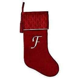 Harvey Lewis™ Monogram Letter  Luxurious Velvet Stocking in Red